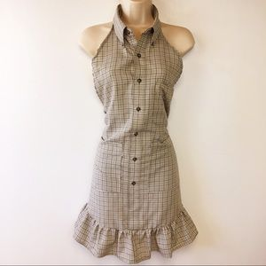 Apron Large Upcycled Button Front Ruffles Tie Back